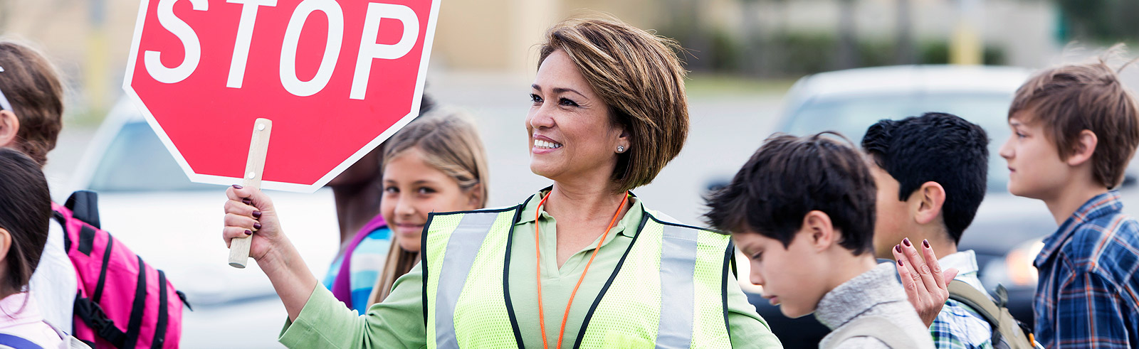 crossing guard with students